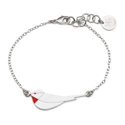 Bracelet Little Bird - argent et coquelicot