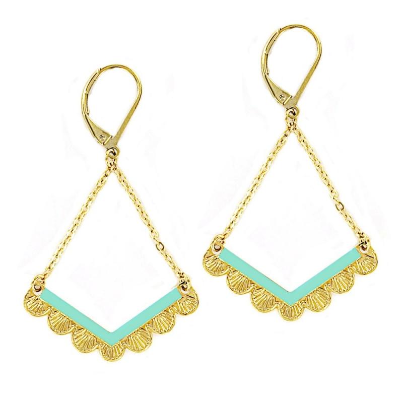 Boucles d'oreilles wave turquoise - Laëti Trëma - Les inutiles