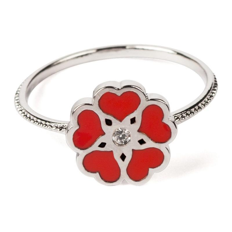 Bague Amoureuse Rouge Argentée - Boutique Les inutiles
