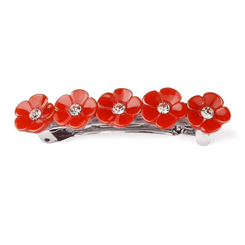 Barrette Fleurs et Strass - Rouge - Boutique Les inutiles