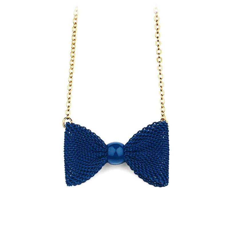 Collier Nœud Bleu Marine - Boutique Les inutiles