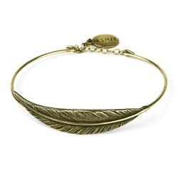 Bracelet plume couleur bronze - bijoux nils avril - Les inutiles