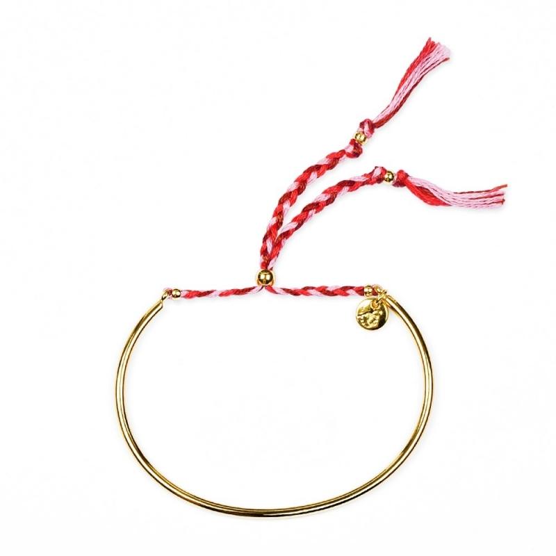Bracelet Tressé - Or & Framboise - Boutique Les inutiles