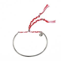Bracelet Tressé - Argent & Framboise