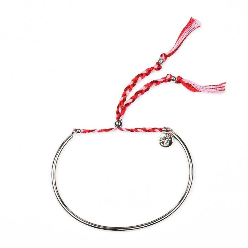 Bracelet Tressé - Argent & Framboise - Boutique Les inutiles