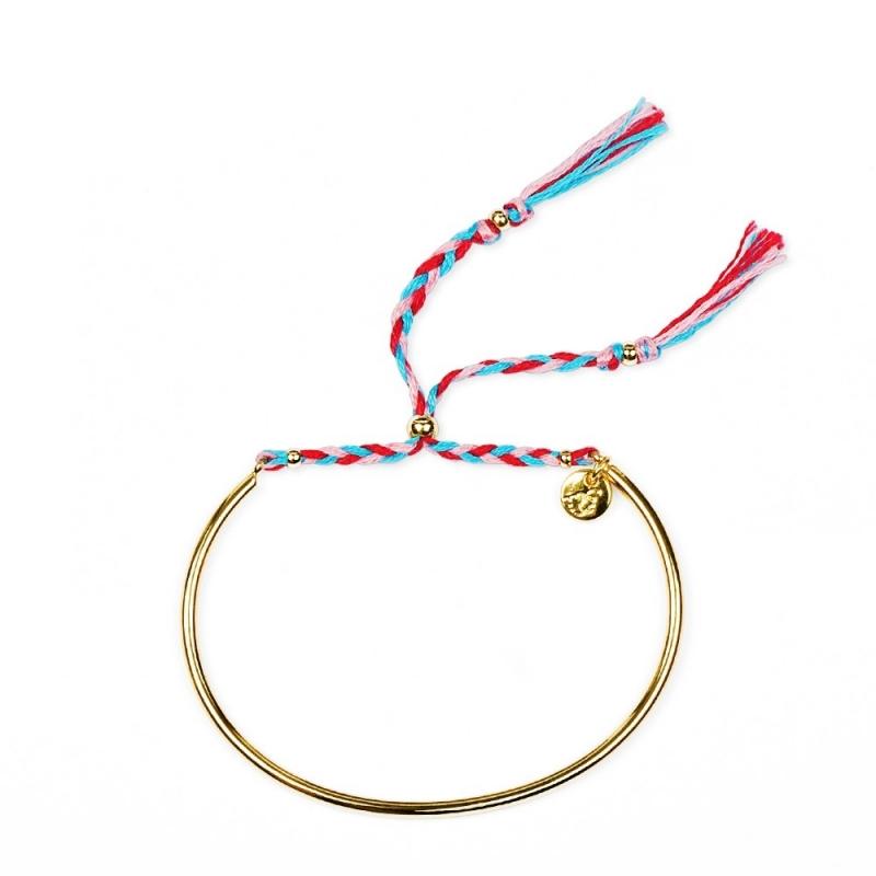 Bracelet Tressé - Or & Cerise - Boutique Les inutiles