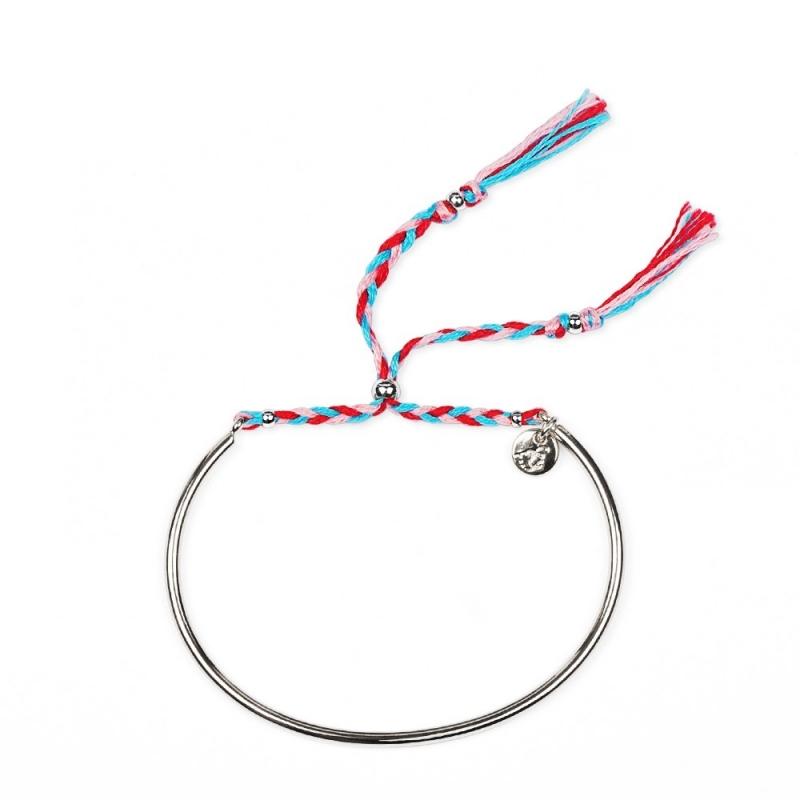 Bracelet Tressé - Argent & Cerise - Boutique Les inutiles