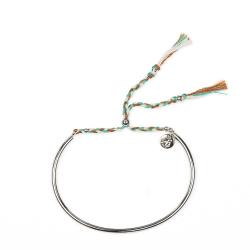 Bracelet Tressé - Argent & Noisette