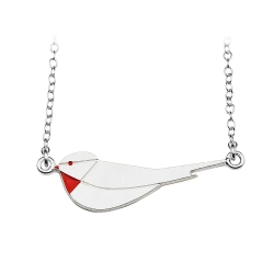 Collier Little Bird - argent et coquelicot