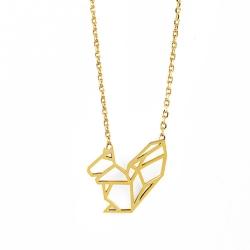 Petit Collier Ecureuil Origami doré - Bijoux 7bis - Boutique Les inutiles