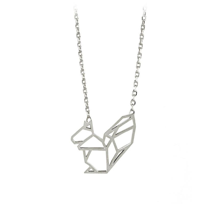 Petit Collier Ecureuil Origami argenté - Bijoux 7bis - Boutique Les inutiles