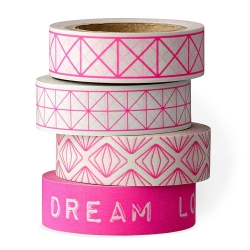 set de 4 Masking Tape Rose Fluo