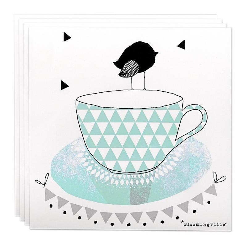 Serviettes en papier tasse et oiseau bleu - Bloomingville - Boutique Les inutiles