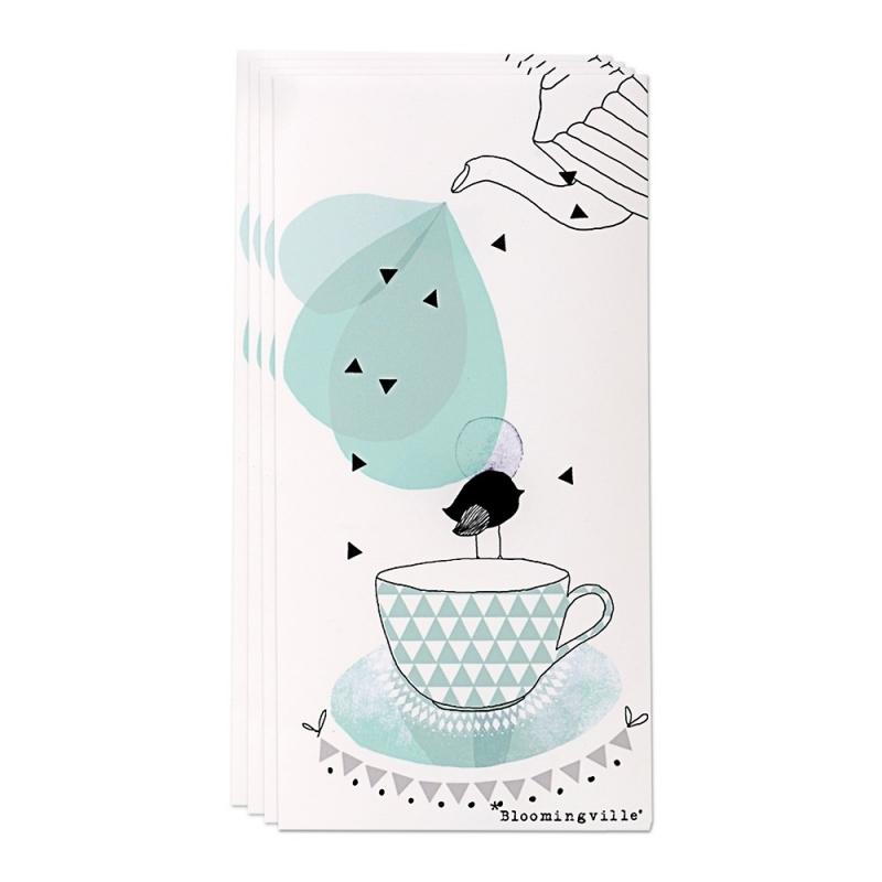 Serviettes en papier théière et oiseau bleu - Bloomingville - Boutique Les inutiles