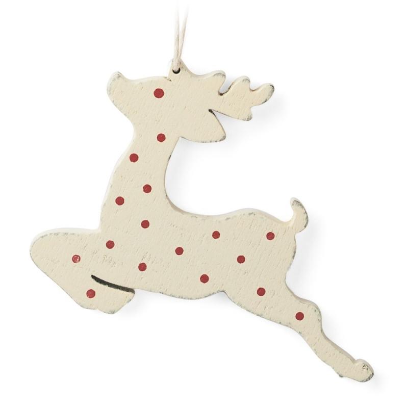 Déco de Noël en Bois Faon Blanc à pois rouge cerf à suspendre dans le sapin • Boutique Les inutiles
