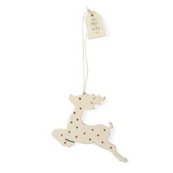 Renne de Noël à accrocher dans le sapin • Déco en bois xmas blanc à pois rouges • Boutique Les inutiles