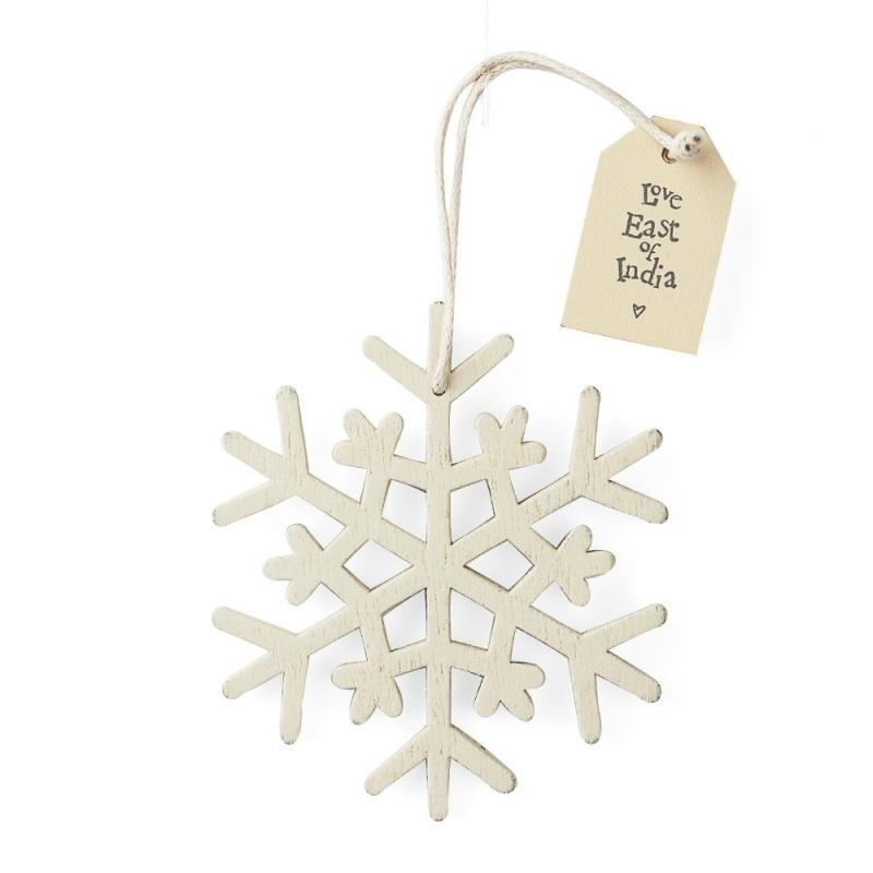 Déco de Noël en bois • Flocon de neige blanc à suspendre dans le sapin • Collection East Of India Boutique Les inutiles