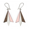 Boucles d'oreilles Northern Light - Rose & Bois, métal plaqué argent et formica - Créatrice Shlomit Ofir - Les inutiles