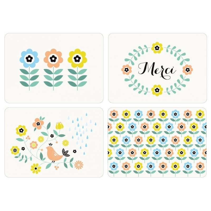 Lot de 4 Cartes Postales Les Beaux Jours - Illustrées par Zü - Boutique Les inutiles