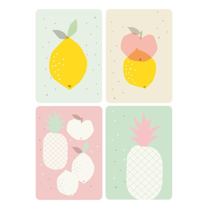 Lot de 4 Cartes Postales Fruits - Illustrées par Zü - Boutique Les inutiles