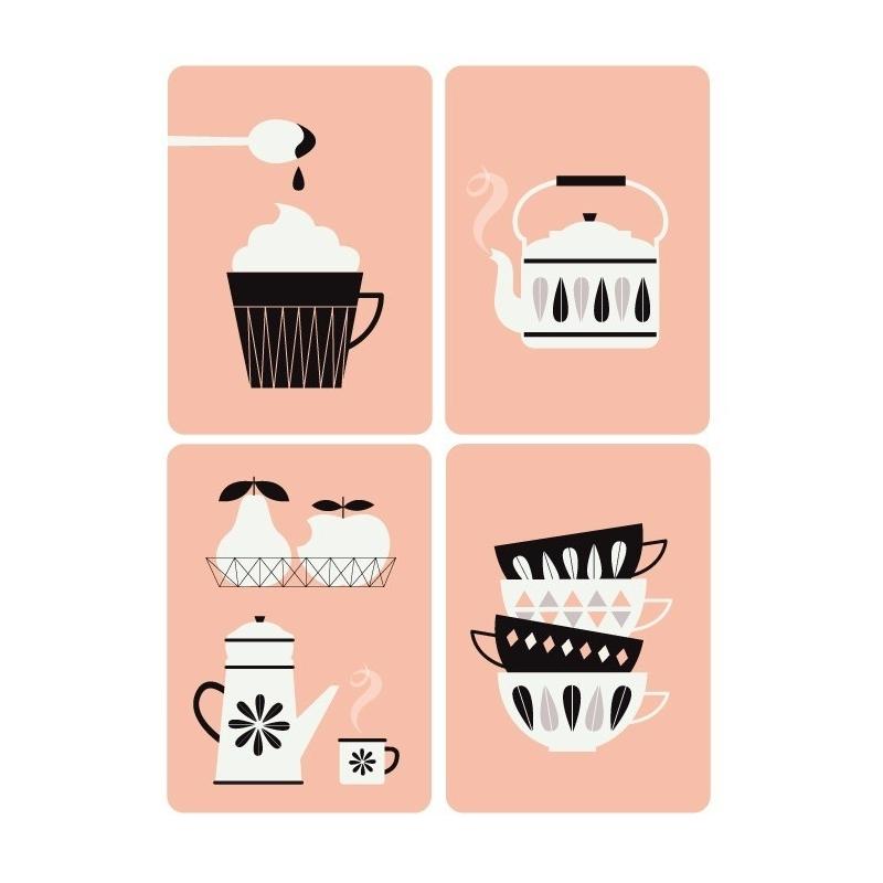 Lot de 4 Cartes Postales Kitchen - Illustrées par Zü - Boutique Les inutiles