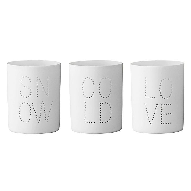 Trio de Photophores Blancs - Snow Cold Love - Bloomingville - Boutique Les inutiles