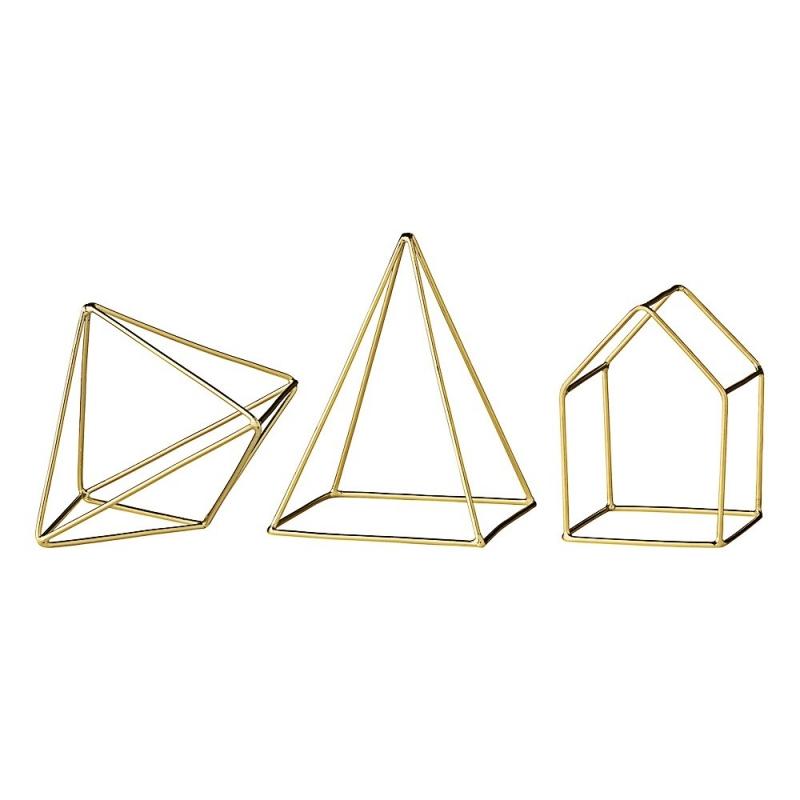 Trio d'Himmelis en Laiton - Maison, Pyramide et Diamant - Bloomingville - Boutique Les inutiles