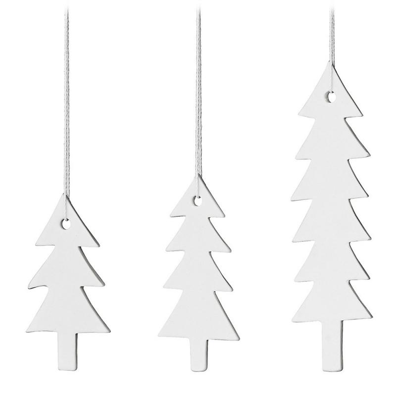 Trio de Sapins de Noël en porcelaine - Bloomingville - Boutique Les inutiles