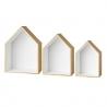 Trio étagères Maison en bois et blanc • house bloomingville • déco chambre d'enfants • rangements épurés boutique Lesinutiles.fr