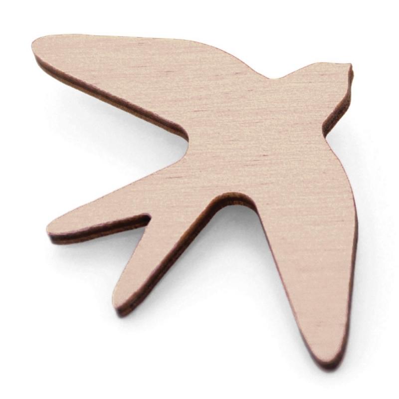 Broche Oiseau en bois - Rose - Snug - Boutique Les inutiles