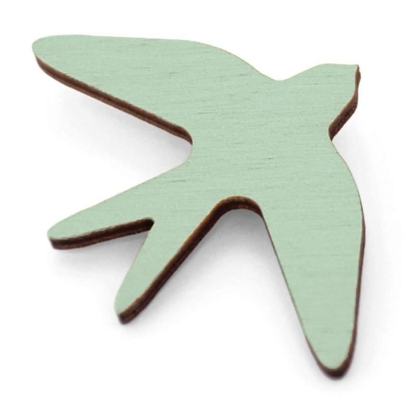 Broche Oiseau en bois - Vert  Amande- Snug - Boutique Les inutiles