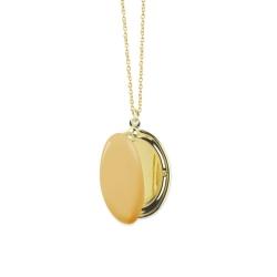 Médaillon Photo jaune moutarde - Sautoir Cassolette - Collier Trois Petits Points Boutique Les inutiles