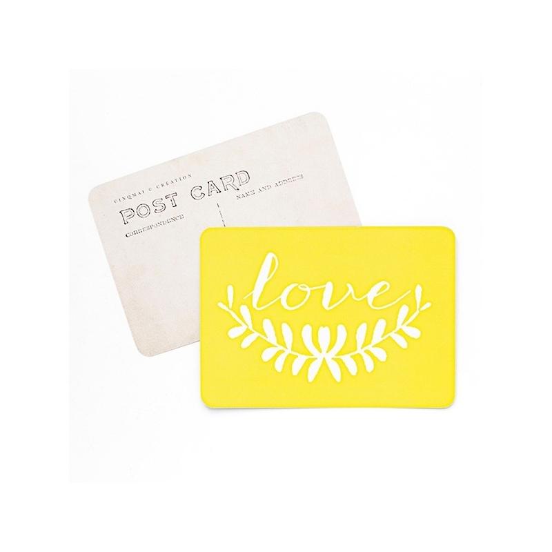 Carte Postale Love - Jaune - CINQMAI - Boutique Les inutiles