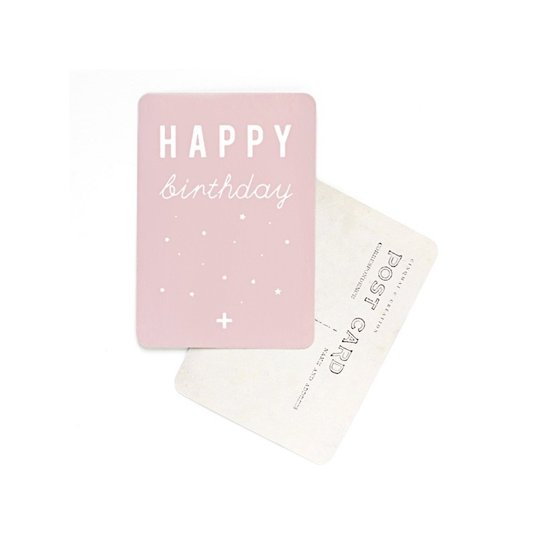 Carte Postale Happy Birthday - Rose - CINQMAI - Boutique Les inutiles
