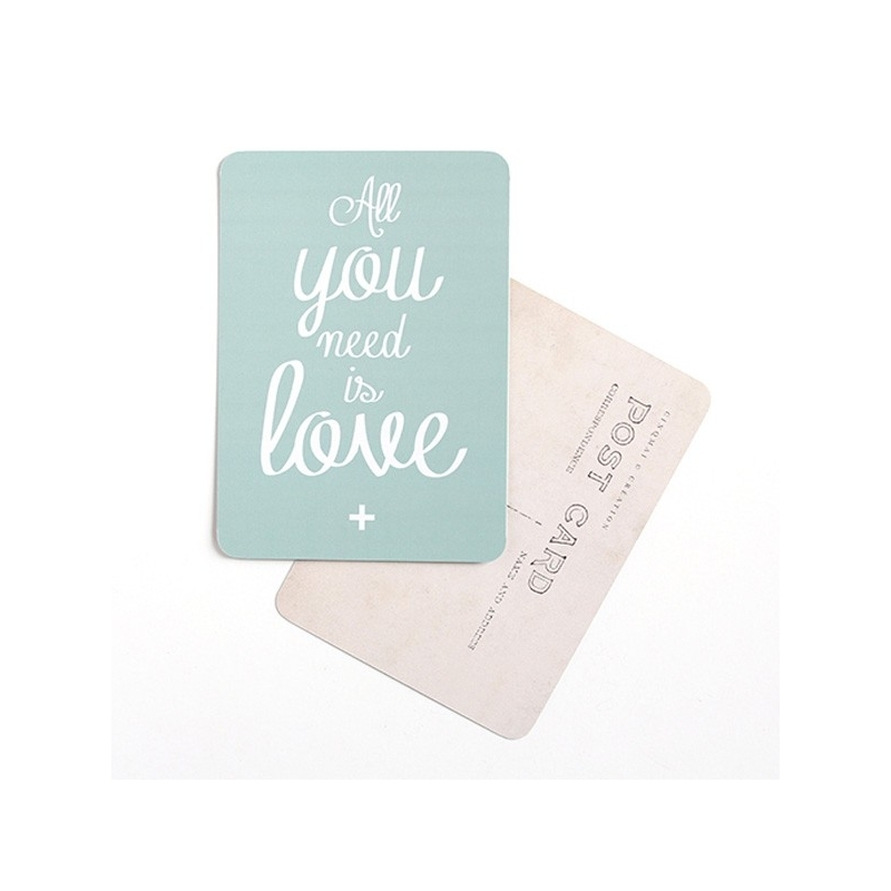 Carte Postale All You Need Is Love - Vert Mint - CINQMAI - Boutique Les inutiles