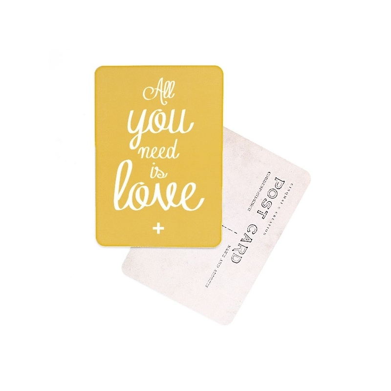 Carte Postale All You Need Is Love - Jaune Moutarde - CINQMAI - Boutique Les inutiles