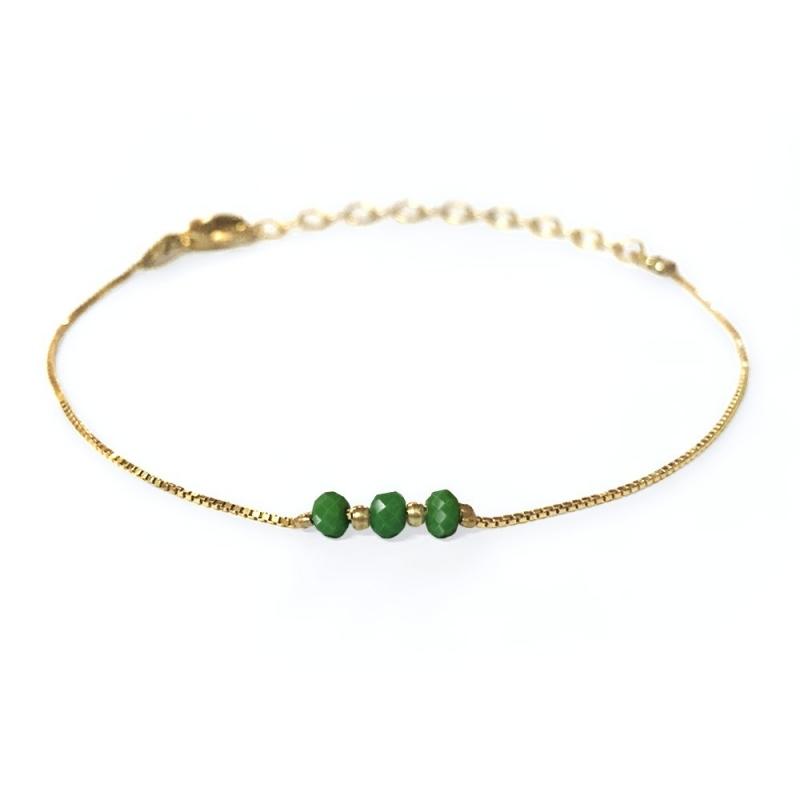 Bracelet doré à l'or fin vert foncé - Trois Soeurs par My Dearest - Boutique Les inutiles