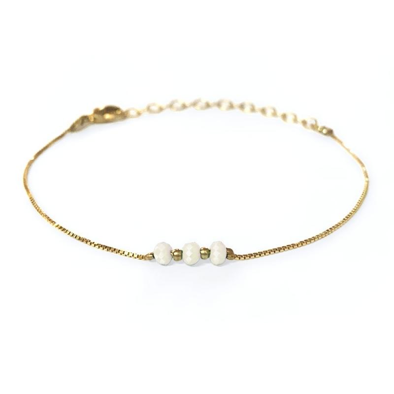 Bracelet doré à l'or fin ivoire - Trois Soeurs par My Dearest - Boutique Les inutiles