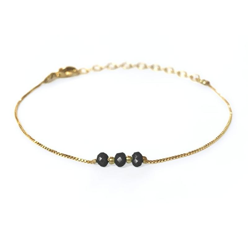 Bracelet doré à l'or fin noir - Trois Soeurs par My Dearest - Boutique Les inutiles