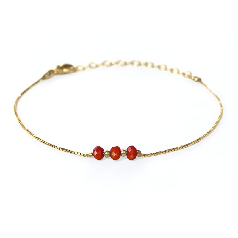 Bracelet doré à l'or fin rouge groseille - Trois Soeurs par My Dearest - Boutique Les inutiles