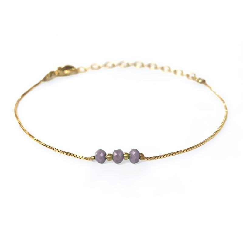 Bracelet doré à l'or fin gris mauve - Trois Soeurs par My Dearest - Boutique Les inutiles