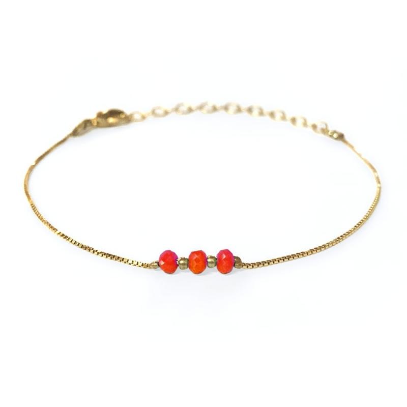 Bracelet doré à l'or fin corail - Trois Soeurs par My Dearest - Boutique Les inutiles