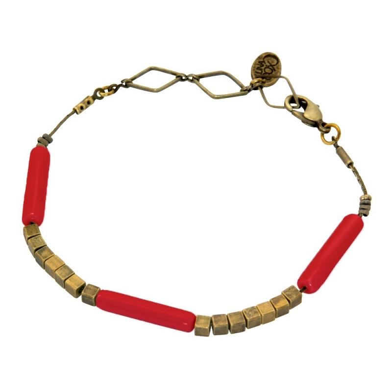 Bracelet Tonka Rouge Coquelicot - Bijoux Luna Cox - Boutique Les inutiles