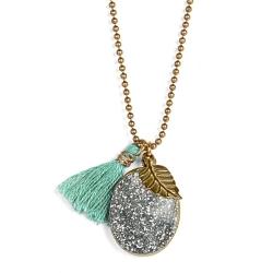 Médaillon porte photo turquoise • collier pomme paillettes argent • bijoux de créateurs pour enfants • boutique Les inutiles