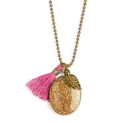 Pendentif porte photo doré à paillettes • collier médaillon pomme rose • bijoux petite fille • Les inutiles