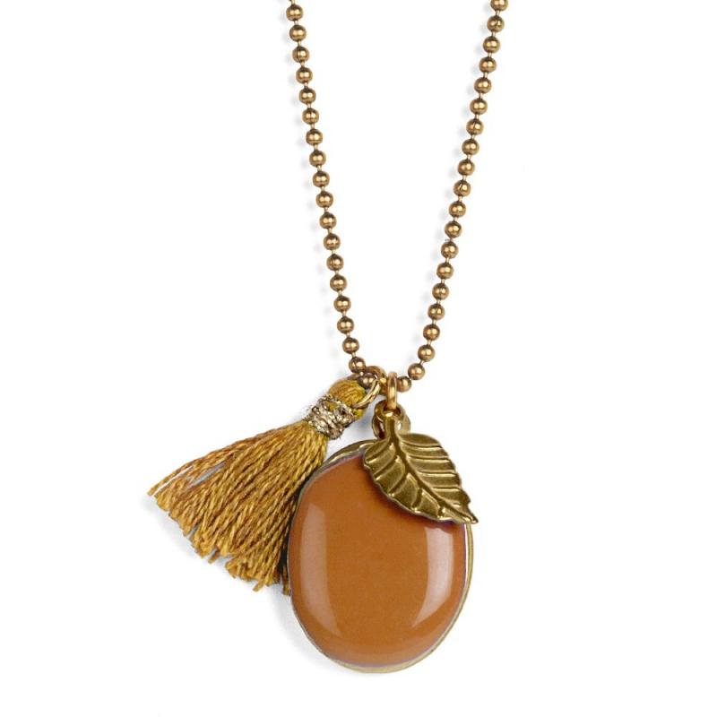 Médaillon Photo - Pomme Camel - Bijoux Puella - Boutique Les inutiles