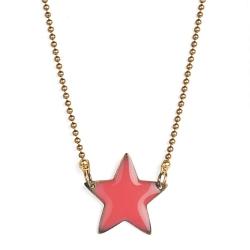Collier étoile rouge rose • bijoux petite fille idée cadeau enfant • pendentif porte-bonheur • Les inutiles