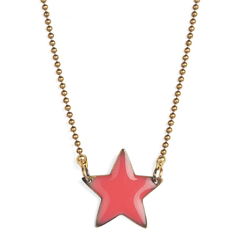 Collier Etoile Emaillée Rose Corail - Bijoux Puella - Boutique Les inutiles