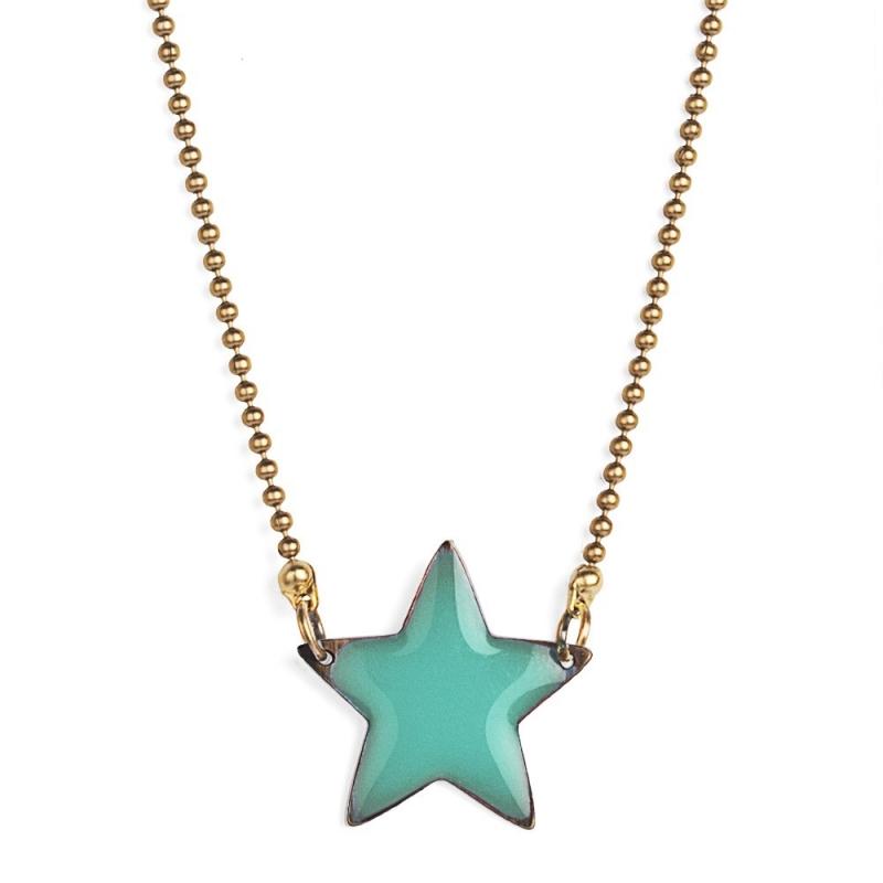Collier Etoile Emaillée Vert Turquoise - Bijoux Puella - Boutique Les inutiles