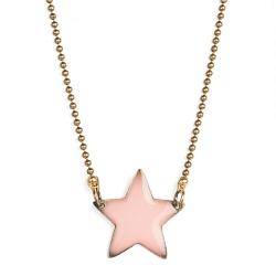 Idée cadeaux enfant à Loches • bijoux pour petite fille • collier émaillé rose pastel pendentif étoile • Boutique Les inutiles